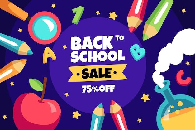 Fondo de venta de regreso a la escuela de dibujos animados