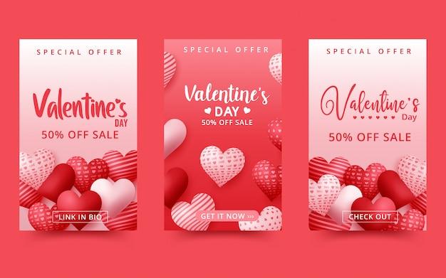 Fondo de venta de san valentín. composición romántica con corazones.