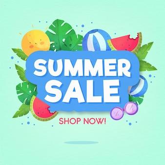 Fondo de venta de verano acuarela