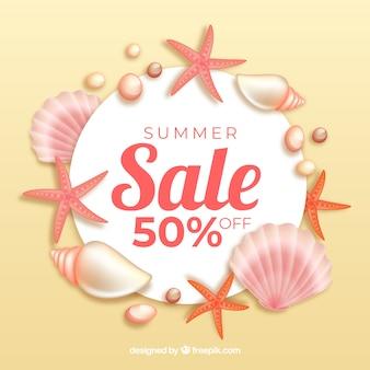 Fondo de venta de verano con conchas