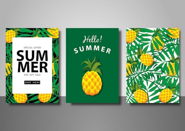 Fondo de venta de verano establece plantilla de ilustración