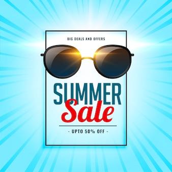 Fondo de venta de verano con gafas de sol brillantes