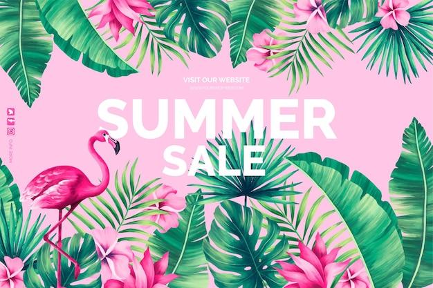 Fondo de venta de verano con naturaleza tropical.