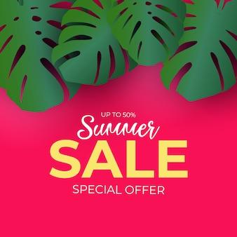 Fondo de venta de verano de palmeras naturales tropicales. ilustración