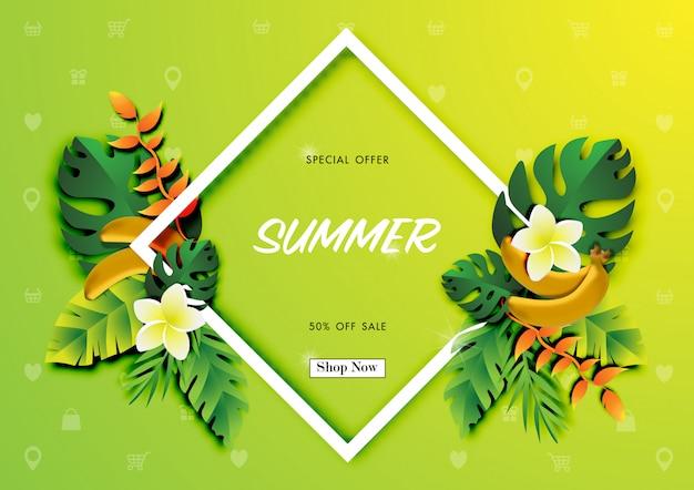 Fondo de venta de verano con papel arte de diseño tropical.