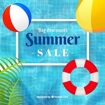 Fondo de venta de verano con piscina y flotadores en estilo realista