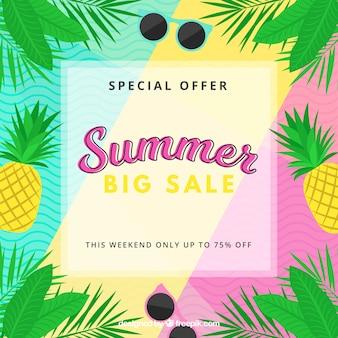 Fondo de venta de verano con plantas y frutas