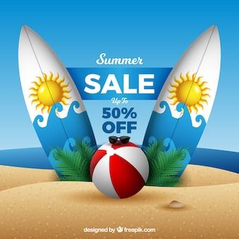 Fondo de venta de verano con playa