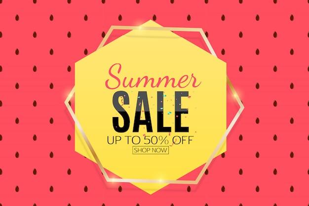 Fondo de venta de verano con sandía. ilustración vectorial