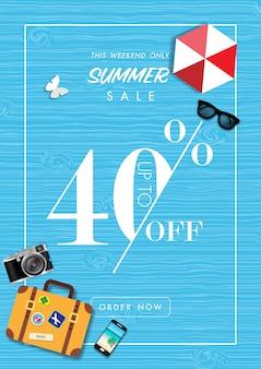 Fondo de venta de verano con vector de accesorios de verano