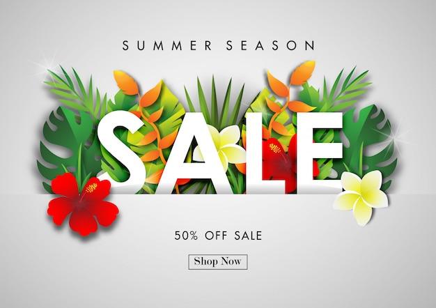 Fondo de venta de verano con vector de diseño tropical