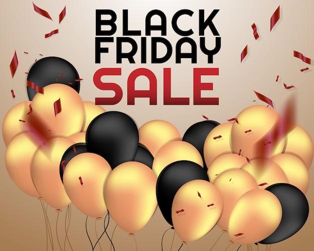 Fondo de venta viernes negro con globo y confeti.