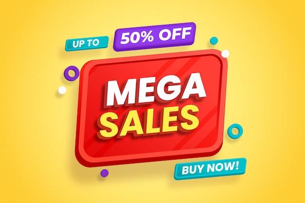Fondo de ventas 3d con elementos coloridos