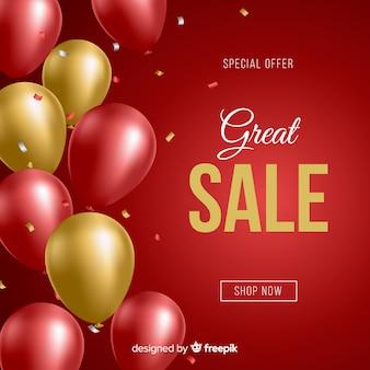 Fondo de ventas decorativas globos realistas