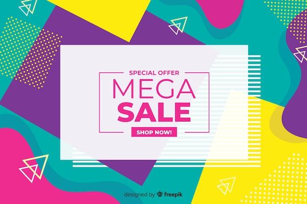 Fondo de ventas de formas geométricas coloridas
