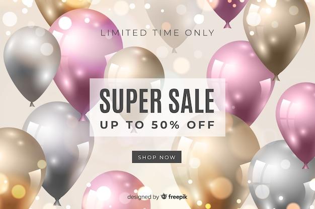 Fondo de ventas con globos de colores realistas