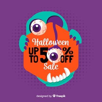 Fondo de ventas de halloween estilo dibujado a mano