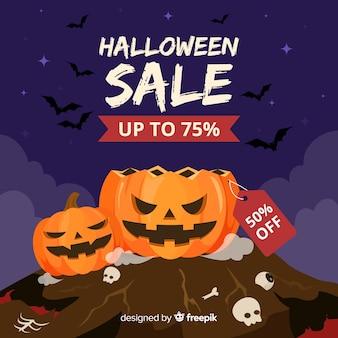 Fondo de ventas de halloween en estilo plano