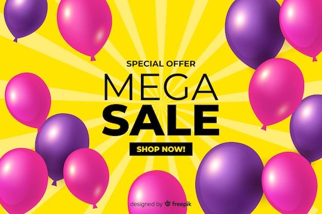 Fondo de ventas realistas con globos