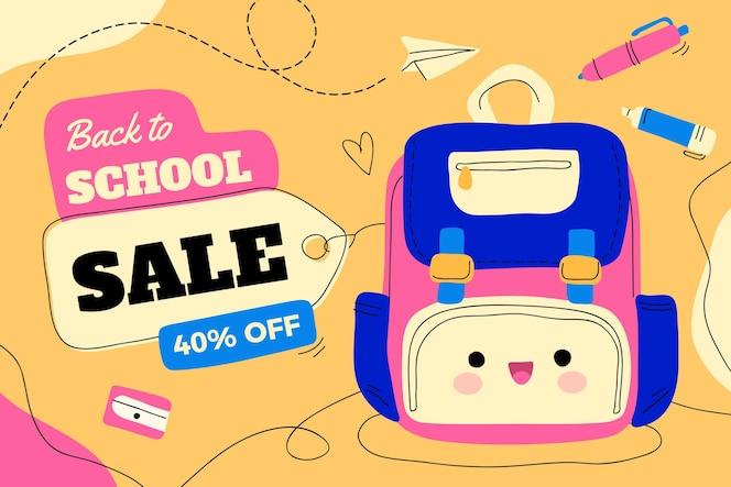Fondo de ventas de regreso a la escuela dibujado a mano