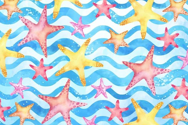 Fondo de verano acuarela con estrella de mar