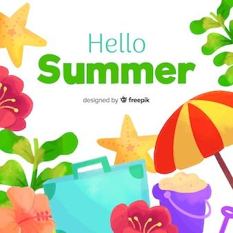 Fondo de verano en acuarela