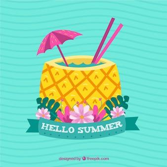 Fondo de verano con bebida de piña