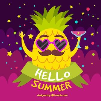 Fondo de verano con caricatura de piña
