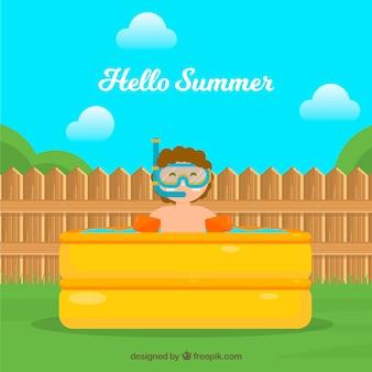 Fondo de verano con chico en la piscina