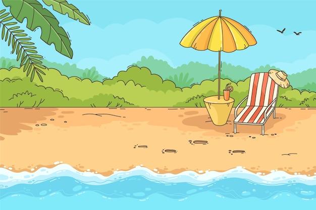 Fondo de verano dibujado a mano para videollamadas