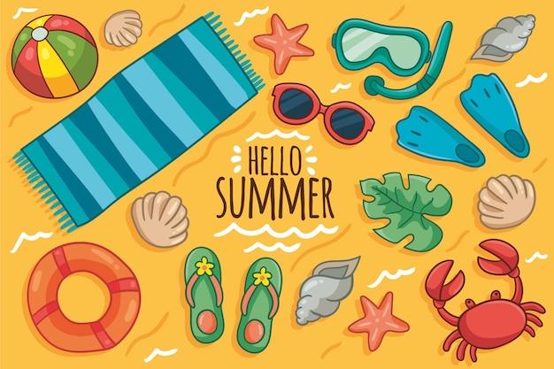 Fondo de verano dibujado a mano