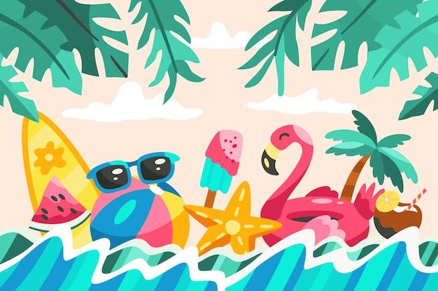 Fondo de verano de dibujos animados