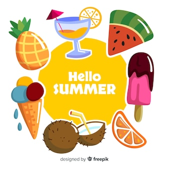 Fondo de verano en diseño plano