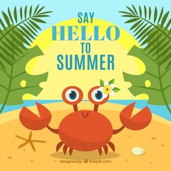 Fondo de verano con divertido cangrejo