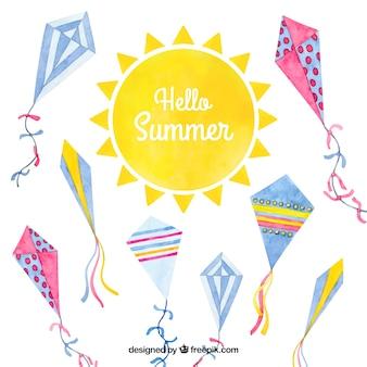 Fondo de verano divertido y colorido con cometas en acuarela