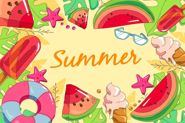 Fondo de verano estilo dibujado a mano