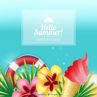 Fondo de verano con flores y otros elementos