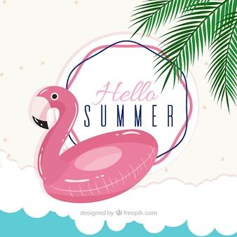 Fondo de verano con flotador de flamenco
