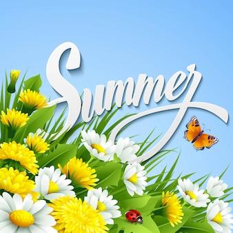Fondo de verano fresco con hierba, diente de león y margaritas