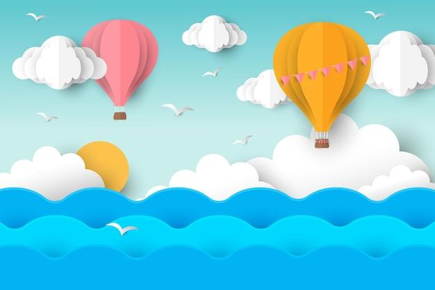 Fondo de verano con globos de aire caliente
