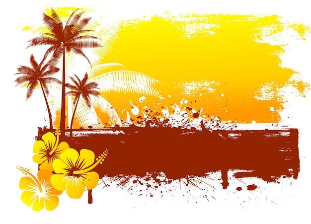 Fondo de verano grunge con flores de hibisco y palmeras
