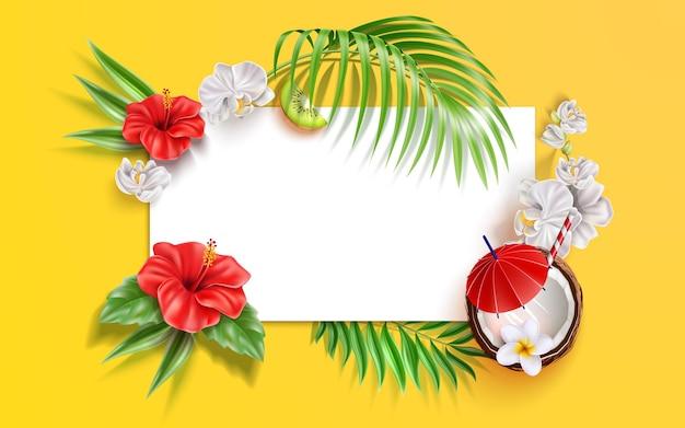 Fondo de verano con hojas de flores tropicales realistas y frutas orquídea blanca de hibisco de vector
