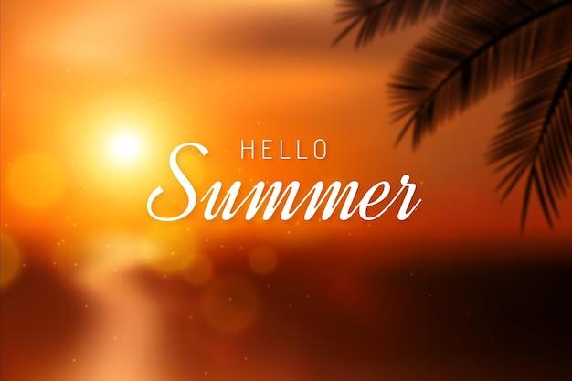 Fondo de verano hola borrosa