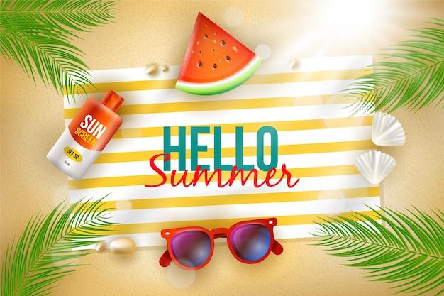 Fondo de verano hola realista