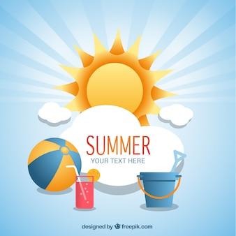 Fondo de verano con iconos de playa