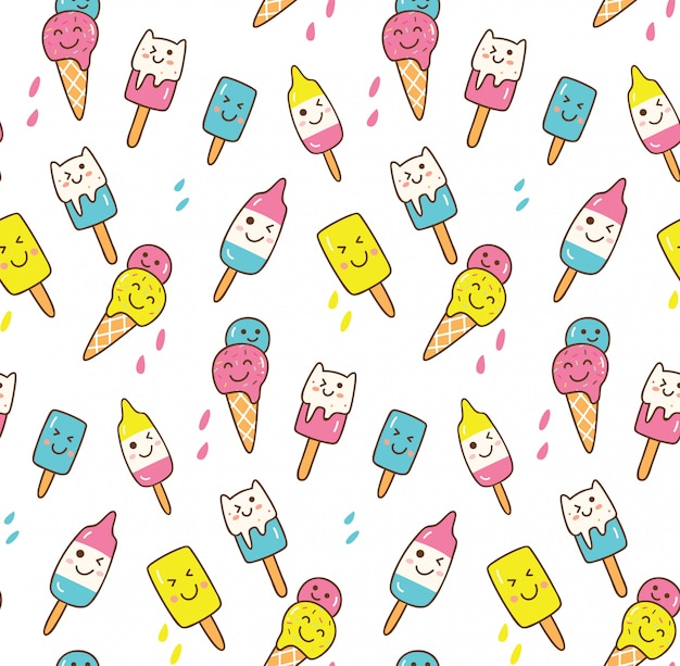 Fondo de verano de kawaii con cono de helado