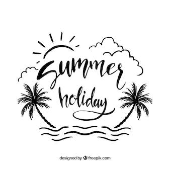 Fondo de verano con lettering