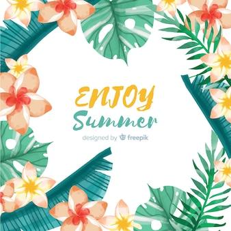 Fondo verano marco plantas tropicales