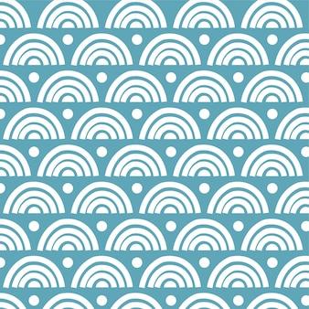 Fondo de verano niños handdrawn de patrones sin fisuras con arco iris azul pastel