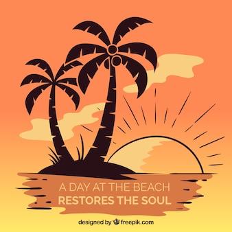Fondo de verano con palmeras y lettering